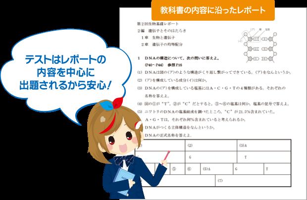 テストはレポートの内容を中心に出題されるから安心!
